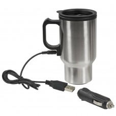 METALLIC THERMAL CUP WITH ADAPTER FOR CAR AND FOR USB
