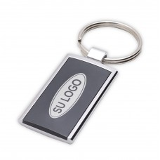 Karpos rectangular metal keyring with plastic plate