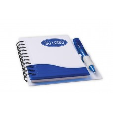 Rigid bicolor notepad with silhouette and ballpoint