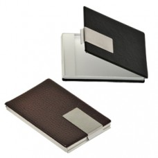 Leather card holder with metal