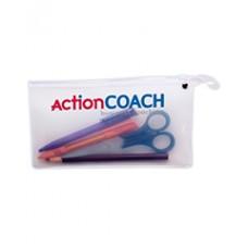 Transparent pen with plastic zipper